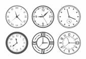 Set of wall clock Watch and circle symbol second and minute Vector illustration