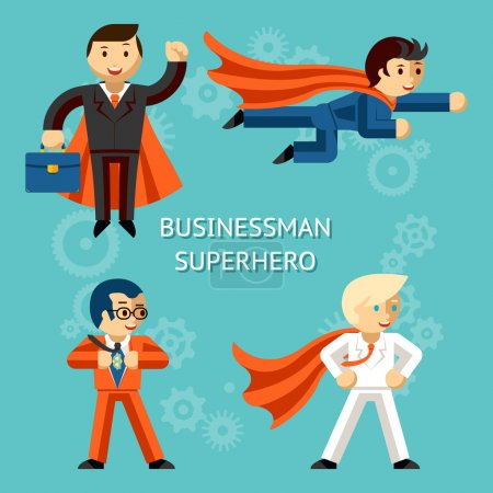Illustration for Set of business superheroes characters. Super businessman, person cartoon. Vector illustration - Royalty Free Image