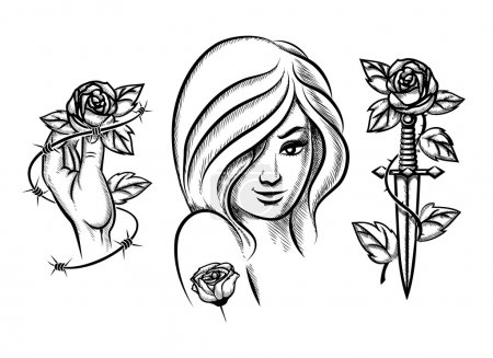 Illustration for Tattoos. Beauty girl, knife, rose and barbed wire. Female black fashion. Vector illustration - Royalty Free Image