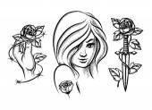 Tattoos Beauty girl knife rose and barbed wire