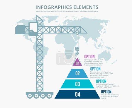 Pyramid chart options construction infographics