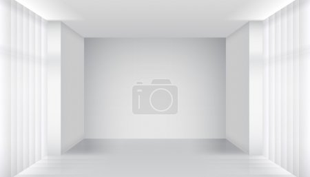 Illustration for Empty room interior. Clear building, apartment white, architecture inside. Vector illustration - Royalty Free Image