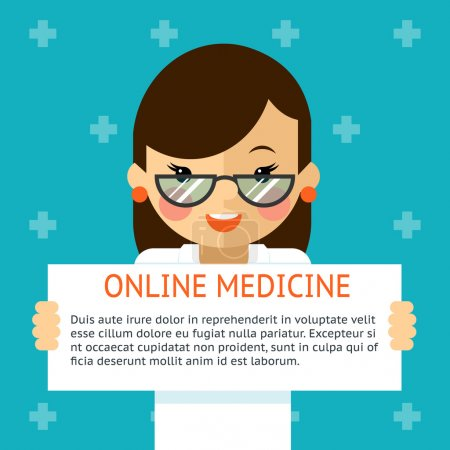 Online medicine banner. Woman doctor shows text sign