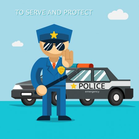 Illustration for Serve and protect. Police officer stands in front of police car. Security male, car and officer, cop man, vector illustration - Royalty Free Image