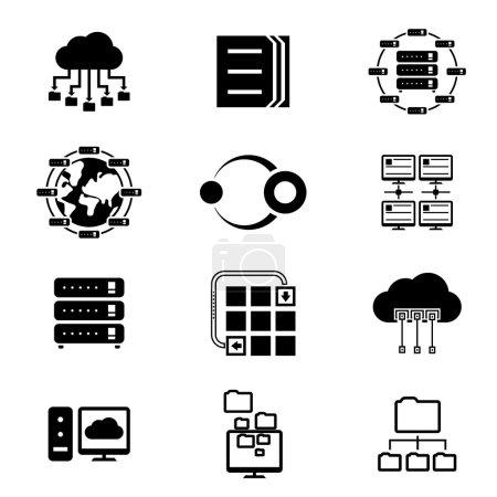 Illustration pour Services de stockage de données et de cloud. Web en ligne, serveur de cluster d'élément, illustration de vecteur - image libre de droit