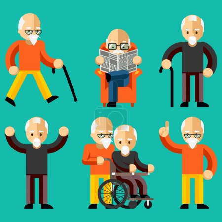 Illustration for Older people. Elderly activity, elderly care, comfort and communication in old age. Happy man read newspaper in armchair. Vector illustration - Royalty Free Image