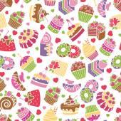 Baking and desserts seamless pattern background