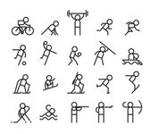 Sport line icons Modern style Jogging and weightlifting barbell and strength stayer and sprint Vector illustration