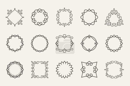 Illustration for Vector line emblems and badges frames for logo and labels. Decorative outline, decoration shape, contour symbol or stamp - Royalty Free Image