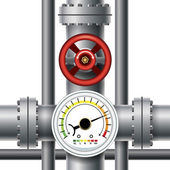 Gas pipe valve pressure meter Transit and industrial manometer control and measurement Vector illustration