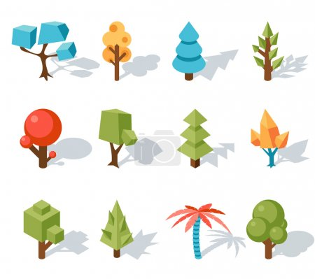 Illustration for Low poly tree icons, Vector isometric 3D. Forest and leaf, palm and trunk, colorful foliage, tropical floral - Royalty Free Image