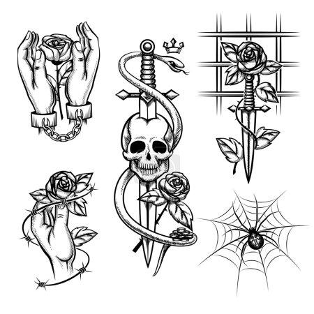 Illustration pour Tatouage criminel. Rose dans les mains d'un couteau derrière les barreaux, l'araignée et le crâne. Menotté et cage, fil et chaîne métallique. Illustration vectorielle - image libre de droit