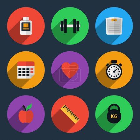 Fitness tracker flat icons