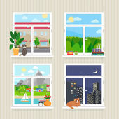 Vector flat windows with landscape