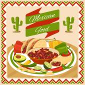 Mexican food poster Vegetable and chili avocado and lime fresh traditional natural vector illustration
