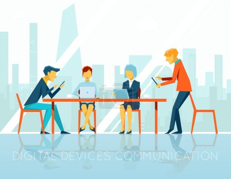 Illustration for People digital devices communication. Businesswoman and businessman, teamwork people, digital technology, device communicate, web internet, vector illustration - Royalty Free Image