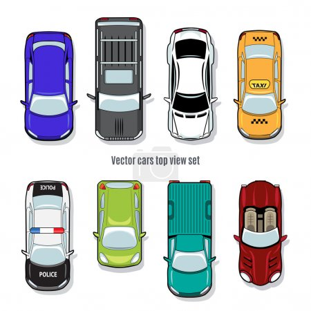 Illustration for Set of vector cars top view. Automobile convertible pickup and jeep, taxi and police - Royalty Free Image