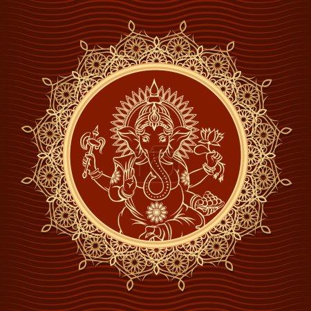 Illustration pour Lord Ganesha Sunburst. Tête d'éléphant indien et hindouisme et animal, couronne et lotus. Illustration vectorielle - image libre de droit