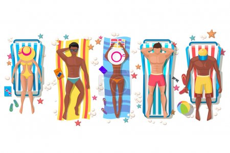 Summer beach people on sun lounger icons
