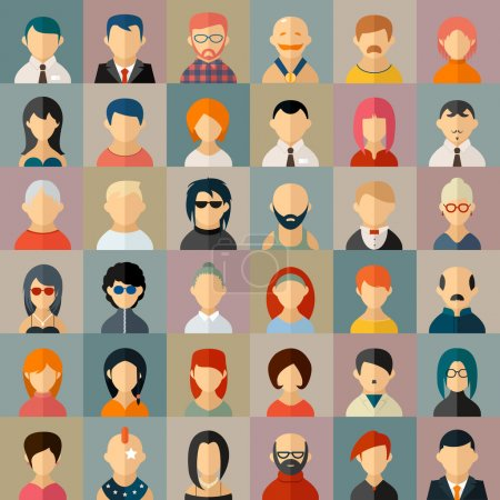 Illustration for Flat people character avatar icons set. Face portrait, girl and boy. Vector illustration - Royalty Free Image