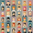 Flat people character avatar icons set. Face portr...