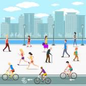 """Постер, картина, фотообои """"Группа людей набережной на реке Сити улицы. Плоский рисунок"""""""