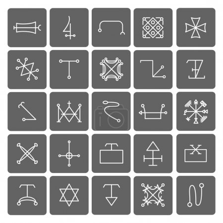 Mystical symbols and sacred signs icons