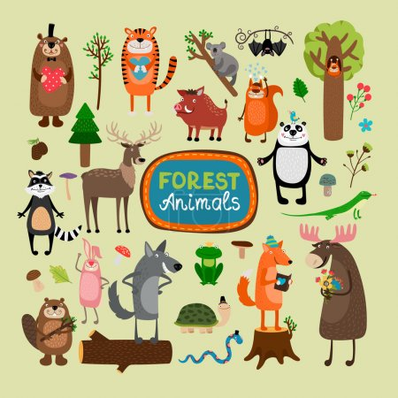 Vector forest animals set. Tiger koala bat squirre...