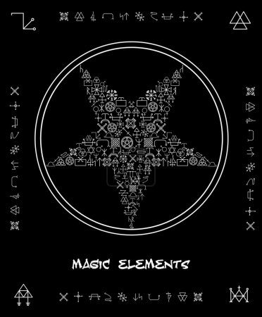 Five-pointed star of magical elements