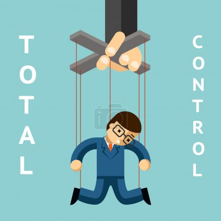 Total control. Businessman puppet