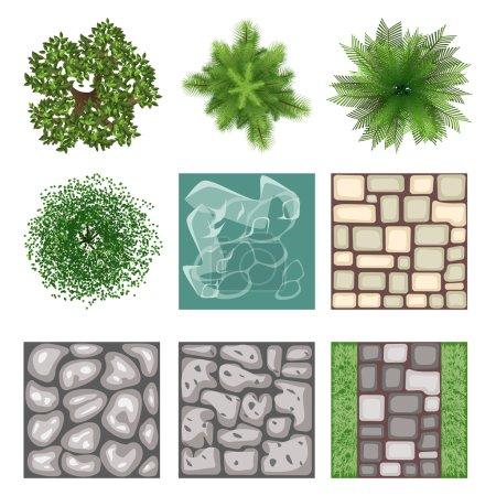 Landscape design top view vector elements