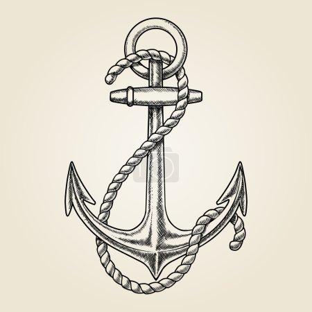 Vector hand drawn nautical anchor