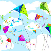 Kites and sky with clouds horizontal seamless background