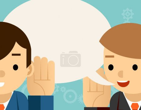 Illustration for Speaking and listening. One man holds hand at his ear and the other says. Bubble information, hearing and whisper, vector illustration - Royalty Free Image