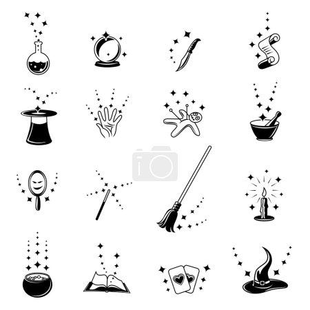 Illustration pour Ensemble d'icônes magiques vectorielles. Livre et balai, bougie et poupée vaudou, potion et étincelle - image libre de droit