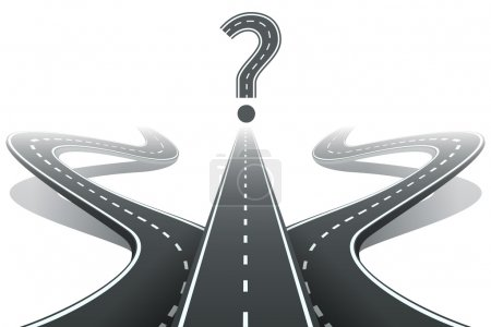 Trois routes et point d'interrogation. Choisir le concept du droit chemin