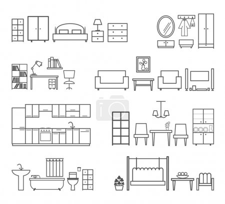 Illustration for Home related icons. Furniture for different rooms. Bath and hall, bedroom and kitchen, vector illustration - Royalty Free Image