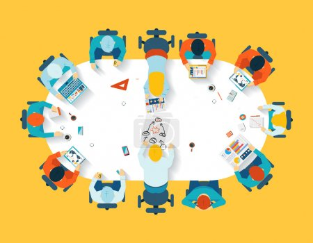 Illustration for Teamwork. Business brainstorming top view. Office team, meeting  table, people and company, vector illustration - Royalty Free Image
