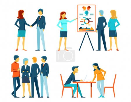 Illustration for Business people in different poses. Office person, manager and businessman, work showing and meeting, vector illustration - Royalty Free Image