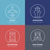 Logistics line icons Airmail cargo transportation delivery and shipping