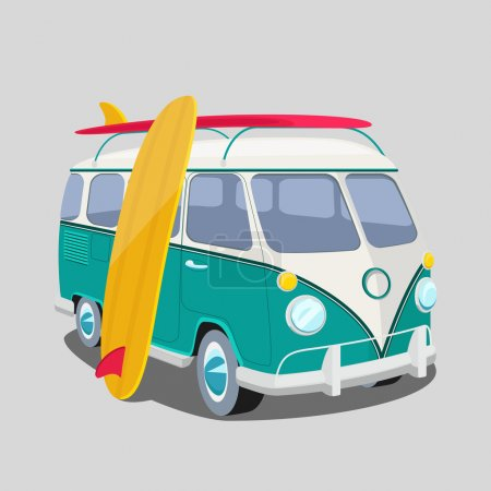 Surfer van poster or t-shirt graphics