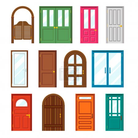 Set of front buildings doors in flat design style