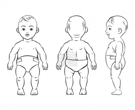Baby figure. Front, side and back view