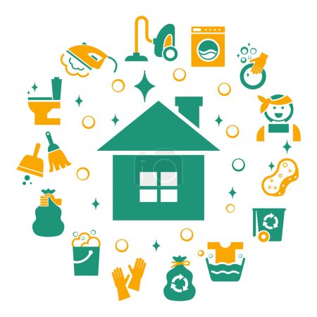 Household cleaning icons set