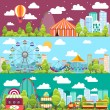 Flat design conceptual city banners with carousels...