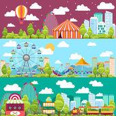 Plochý design konceptuální město bannery s kolotoče