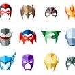 Vector super hero masks for face character in flat...