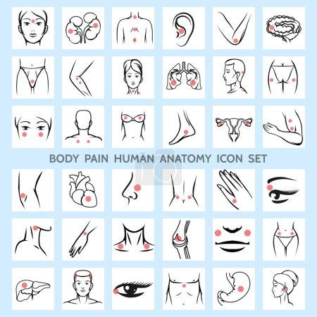 Body pain human anatomy icons