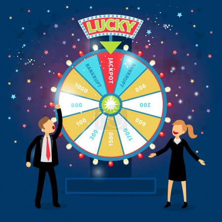 Illustration for Business people with financial wheel of fortune. Gambling concept. Chance and risk, success and win, game and money. Vector illustration - Royalty Free Image