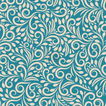 Illustration for Seamless floral pattern on uniform background. Ornament darkcyan, design fabric art, fashion contour, vector illustration - Royalty Free Image